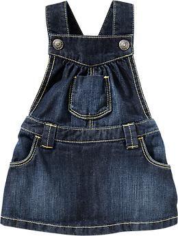 Ruffle-Bottom Denim Skirtalls for Baby, old navy