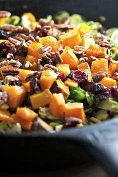 Shredded brussels sprouts, butternut squash, pecans and dried cranberries!
