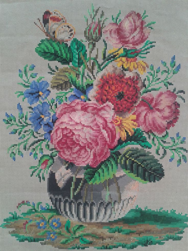 A Berlin WoolWork Floral Vase Pattern Produced By A Todt In Berlin