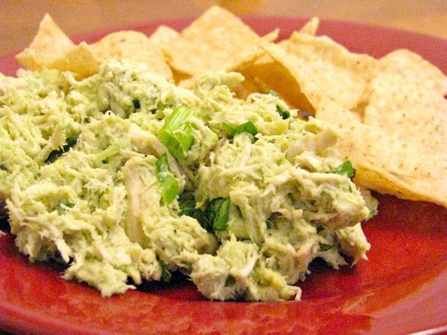 chicken salad made by mixing avocado, cilantro, salt, and lime juice with the chicken. No mayo.  I have to try this!