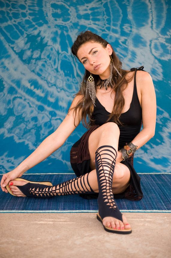 SALE sale  black gladiator sandals  spider sandals  by goamagic, $55.00