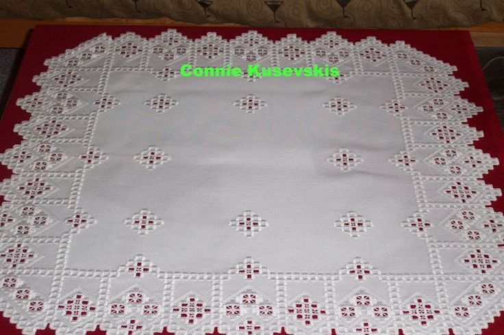 White on white Hardanger 26-1/4 inches square