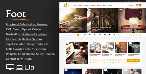 Download Foot v1.8 – Grid Front-End Submission Content Sharing, free theme…