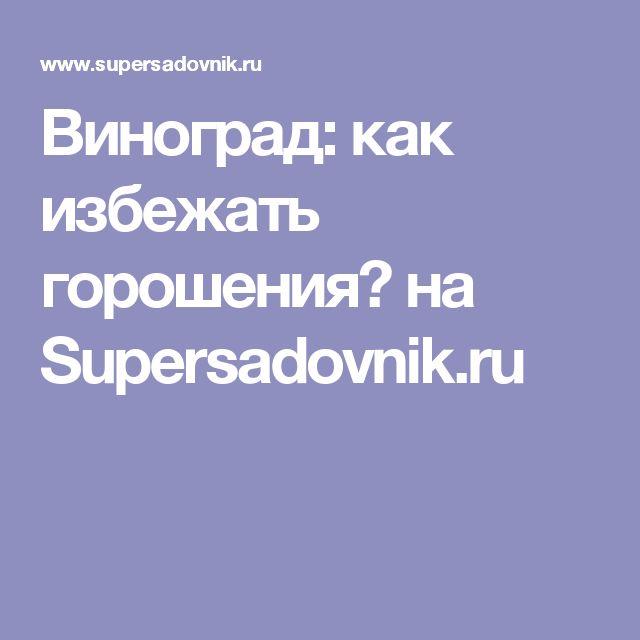 Виноград: как избежать горошения? на Supersadovnik.ru