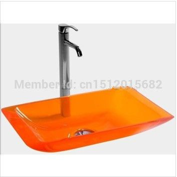 Slim Rectangular Bowl Counter Top Basin Cloakroom Vanity Sink Bathroom  Resin Acrylic Colored Wash Basin 2008