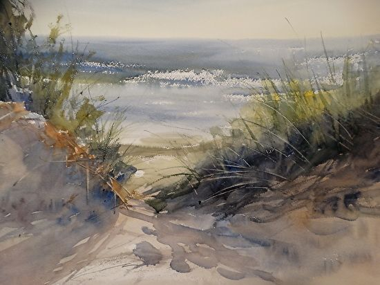 Through the Dunes by Sandy Strohschein Watercolor ~ 22 x 30