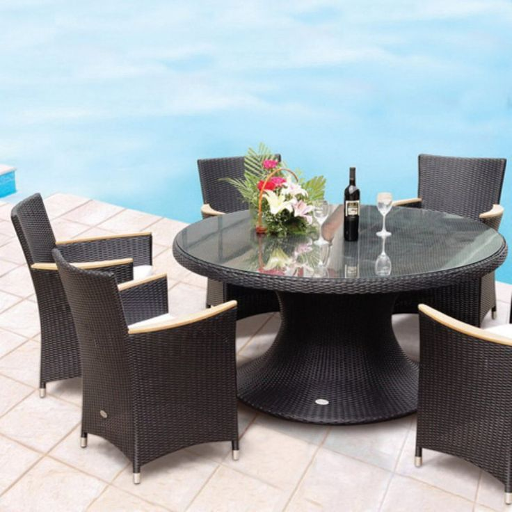Outdoor Royal Teak 60 in. Helena Full Weave Patio Dining Set - Seats 6 - P72