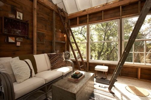 nice view: Ladder, Living Rooms, Window, Trees Houses, Camps Wandawega, Treehouse, Sleep Loft, Cabins Interiors, Cabins Chic