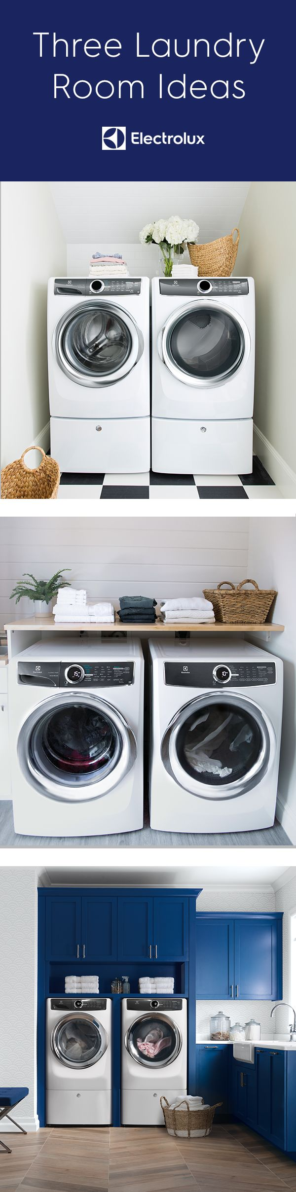 Explore some laundry room inspiration with all-white appliances. #1 -- simple but elegant -- use baskets and the top of your appliances for storage if there's no room for shelving. Two, white tile in the background and a wooden shelf add style and functionality to your space. Third, go bold with your cabinet color to provide some beautiful contrast and extra storage space.
