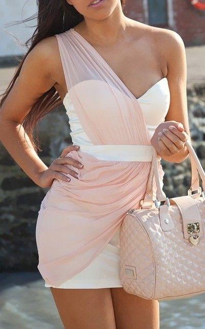 Fashion, Style, Bridesmaid Dresses, Soft Pink, Pastel Pink, Pale Pink, One Shoulder, The Dresses, Dreams Closets