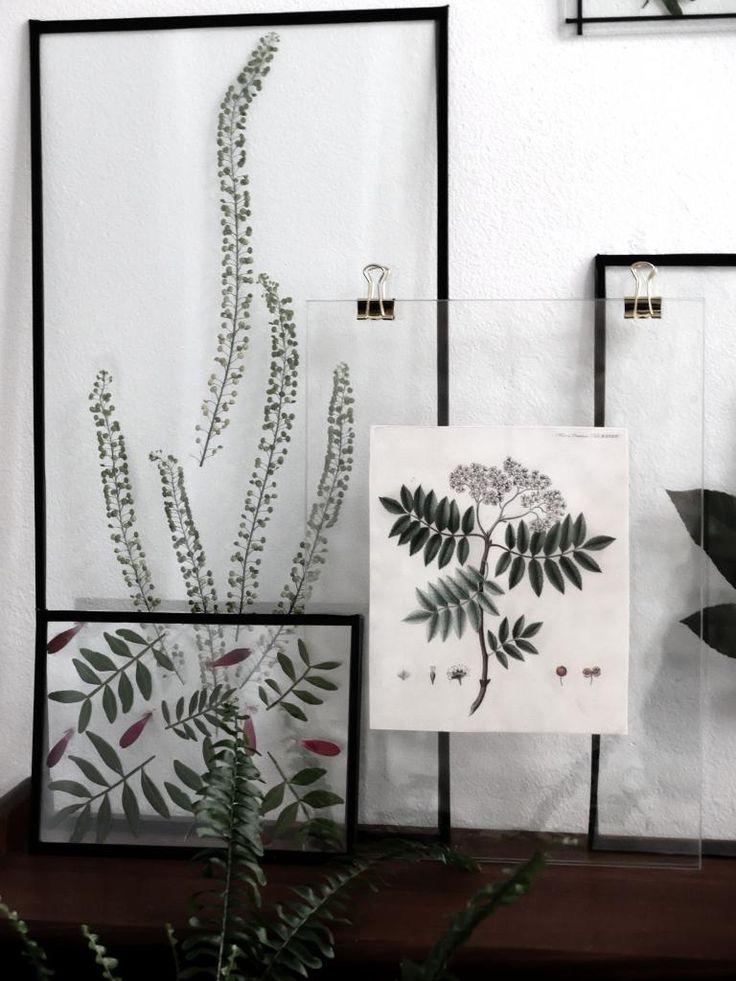 Pressede blomster i hjemmelavede rammer