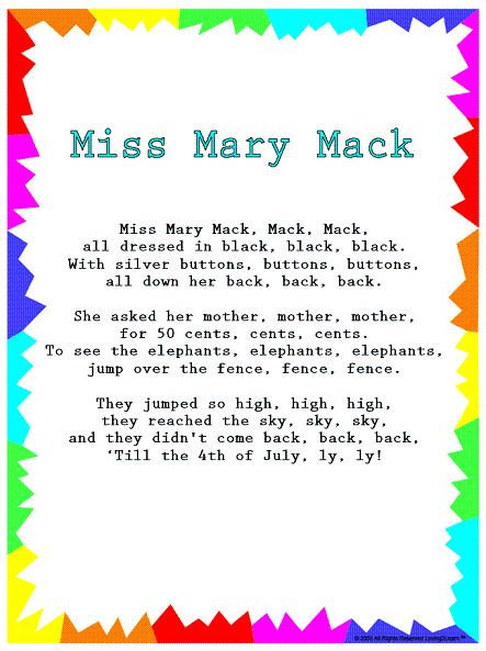 Books - Rhymes and Songs - Silly Songs - Miss Mary Mack