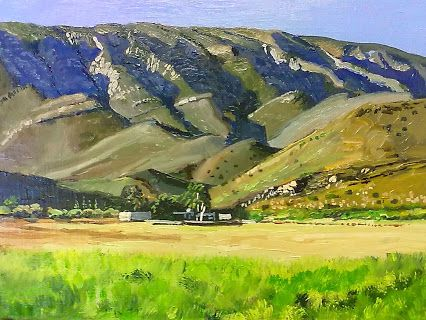 #9 -  Landsape in Prince Albert valley - 300 x 400mm (12 x 16 inches) oils and brush on block mounted board- Delivery by international parcel post.Total price incl. del.= $75 - Payment can be made via online banking facilities.. Thank You.