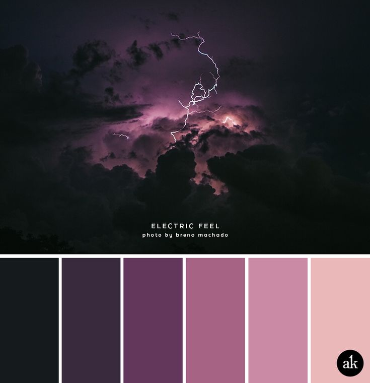 a lightning-inspired color palette // aubergine, purple, pink, peachy-pink