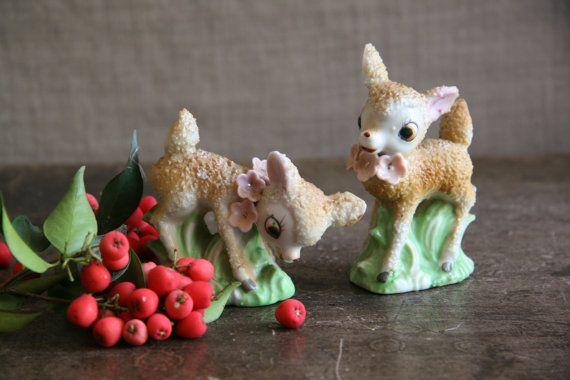 Vintage Pair Deer Figurines Fawn Doe Kitsch Kawaii by FoundByHer, $14.00
