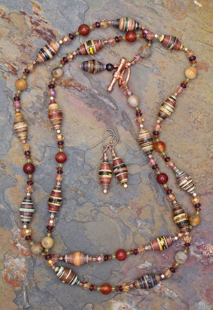 Gemstone and Paper Beads Necklace and Earrings Set from sundancegems on Ruby Lane