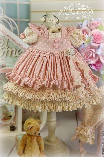 """Одежда для кукол ручной работы. """" Чай с Коржиком """"  комплект для куклы , шебби шик. Кукольные нежности от Ариши. Ярмарка Мастеров."""