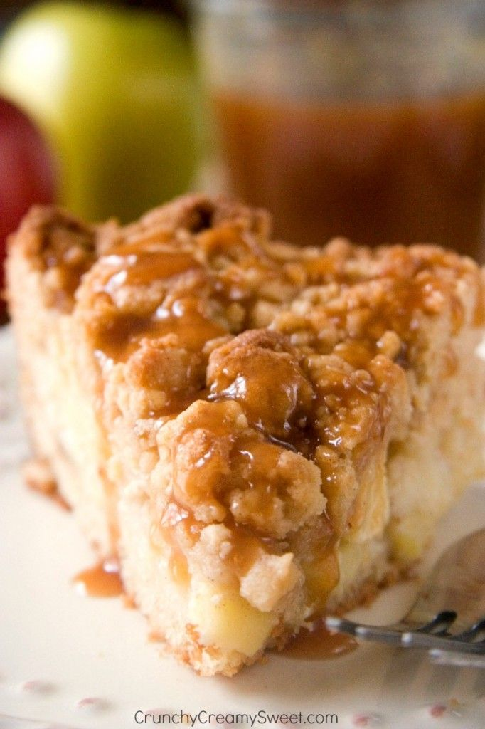 Apple Crumb Cake - the best coffee cake for the fall! @CrunchyCreamySw