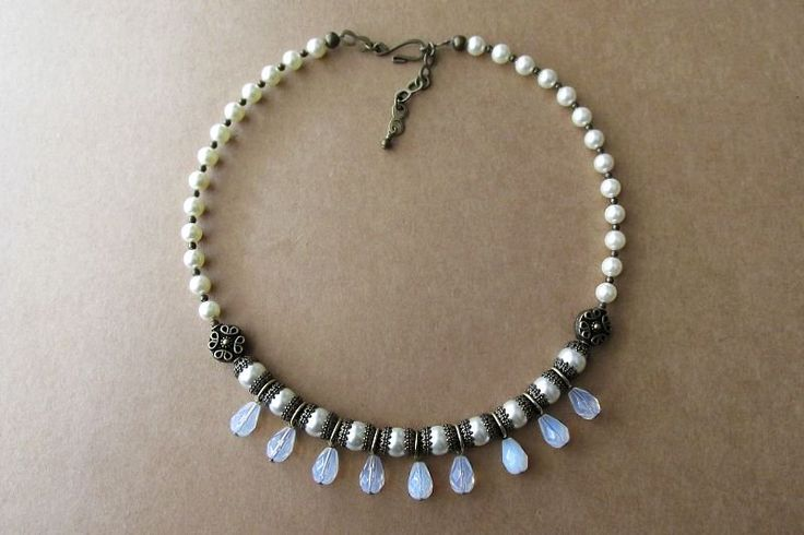 Renaissance Style Swarovski Pearl, Fire Polished Glass and Antique Brass Necklace — Mary Grace Jewellery