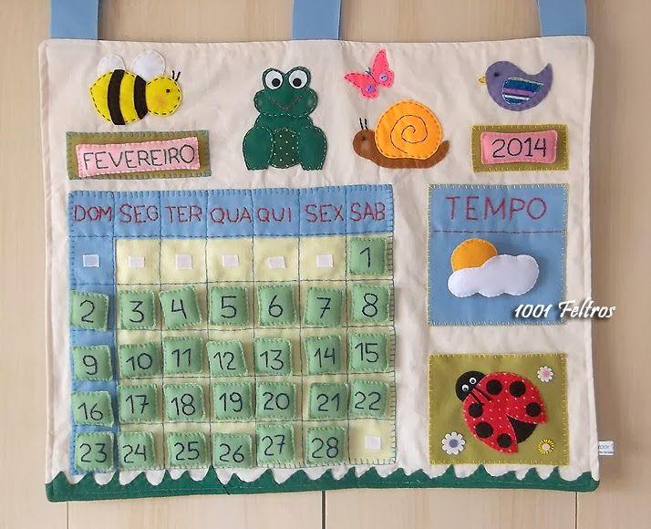 1001 Feltros: Panô - calendário em feltro e tecido