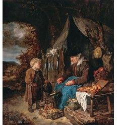 Gabriel Metsu (1629-1667) est un peintre hollandais. Il est un représentant apprécié de la peinture de genre.  La crêpière avec un garçon
