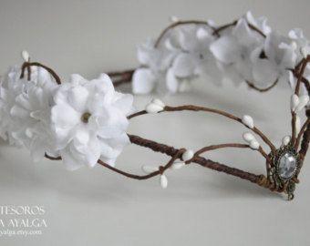 Woodland flower tiara – elven headpiece – fairy crown – woodland tiara – circlet – flower crown – elvish tiara fairy crown – floral tiara