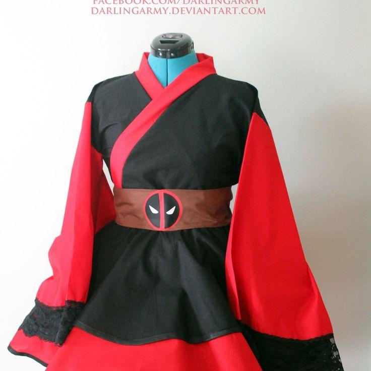 Deadpool Samurai Marvel Cosplay Kimono Dress Wa Lolita Skirt Accessory   Darling Army
