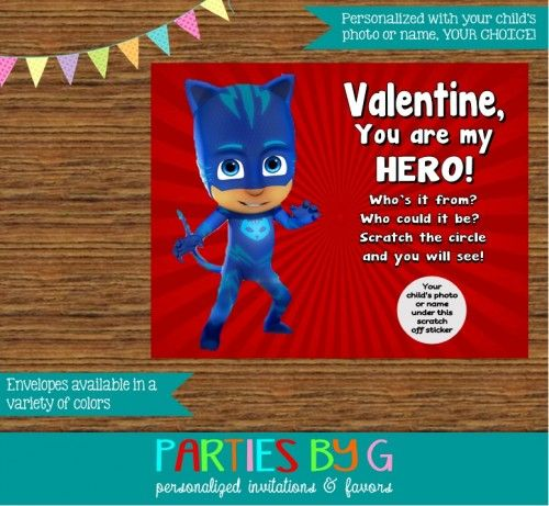 PJ Masks Valentine Valentine's Day Scratch Off Cards Personalized