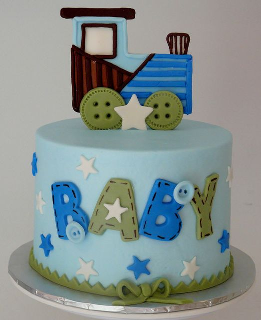 Train themed baby shower cake