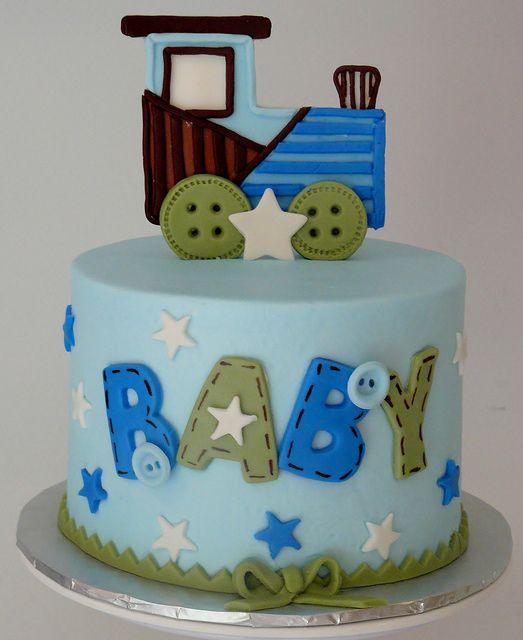 Train themed baby shower cake