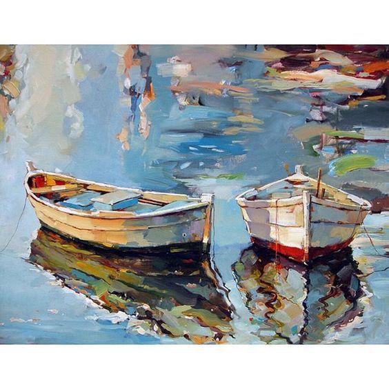 〰〰〰〰〰 • 'Small Boats I' • Oil on canvas • ➖ Artist: Georgi Kolarov ➖ www.georgikolarov.com
