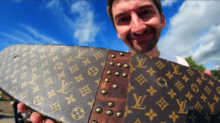 How do you make the most exclusive skateboard grip tape? Cut up a 4-figure LV bag!