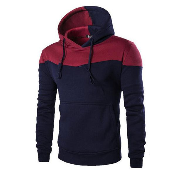 Mens Hoodies Stitching Color Big Front Pocket Casual Sport Hooded Tops