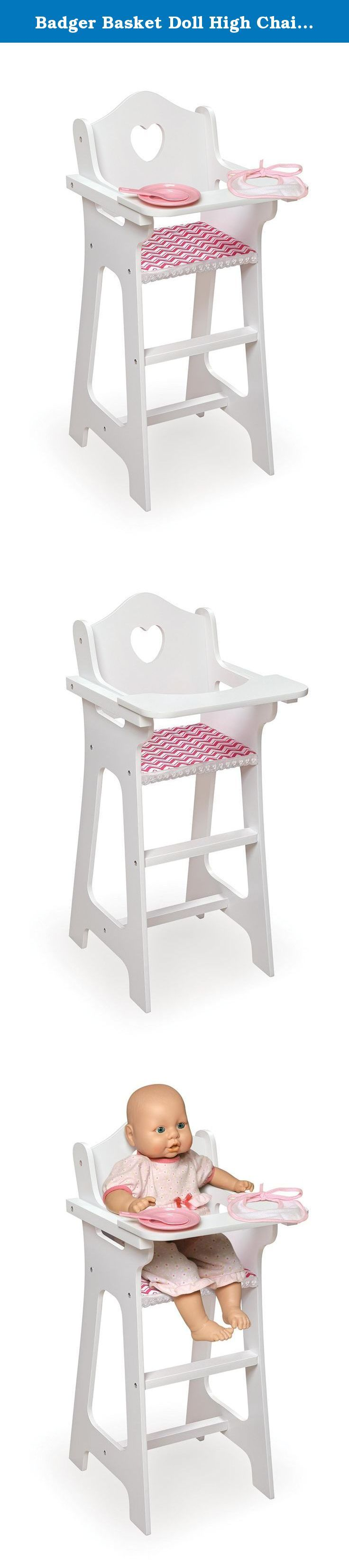 Badger Basket Doll High Chair With Plate, Bib And Spoon   Chevron Print Toy,