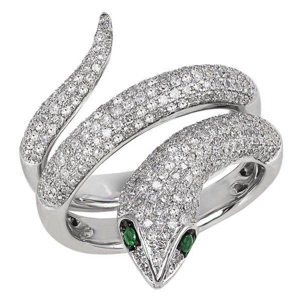 Effy Jewelry Jardin Critters Diamond & Emerald Snake Ring, 1.04 TCW ($4,680) ❤ liked on Polyvore featuring jewelry, rings, accessories, snake, coiled snake ring, diamond snake ring, diamond jewellery, snake ring en emerald jewellery