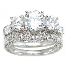 925 Sterling Silver Rhodium Finish Cz Antique Style Engagement Set Ring Tiffany Style