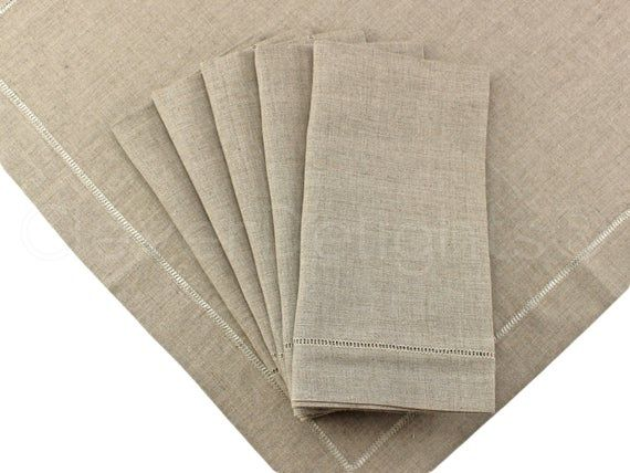 6 Pack 20 Natural Linen Hemstitch Dinner Napkins 100 Pure Linen Ladder Hemstitched Cloth Nap Natural Linen Cloth Napkins Bulk Napkins