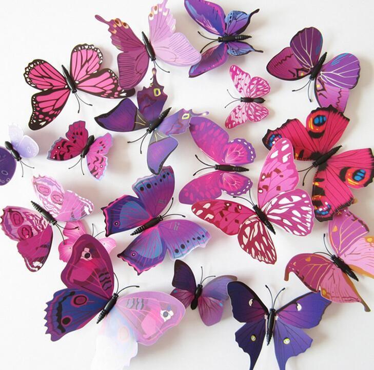 12 pçs/lote pvc 3d diy adesivos de parede borboleta home decor poster para o banheiro cozinha geladeira adesivo para decoração decalques de parede em Adesivos de parede de Home & Garden no AliExpress.com | Alibaba Group