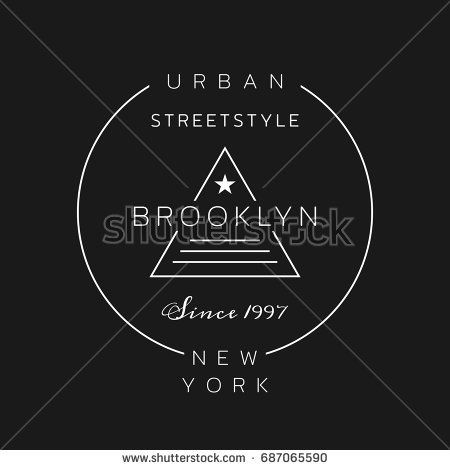 Vector illustration on the theme of fashion in New York City, Brooklyn. Typography, t-shirt graphics, poster, print, banner, flyer, postcard