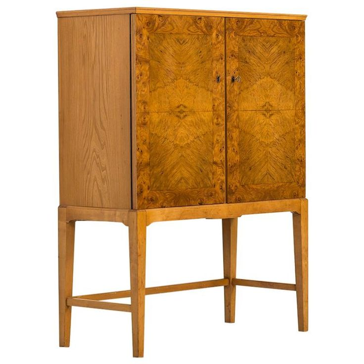 Mid-Century Cabinet in Burl Wood Produced in Finland   1stdibs.com