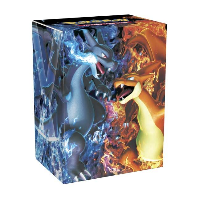 Official Mega Charizard X and Mega Charizard Y Deck Box. Holds a full Pokémon TCG deck with snap Velcro closure and two dividers.