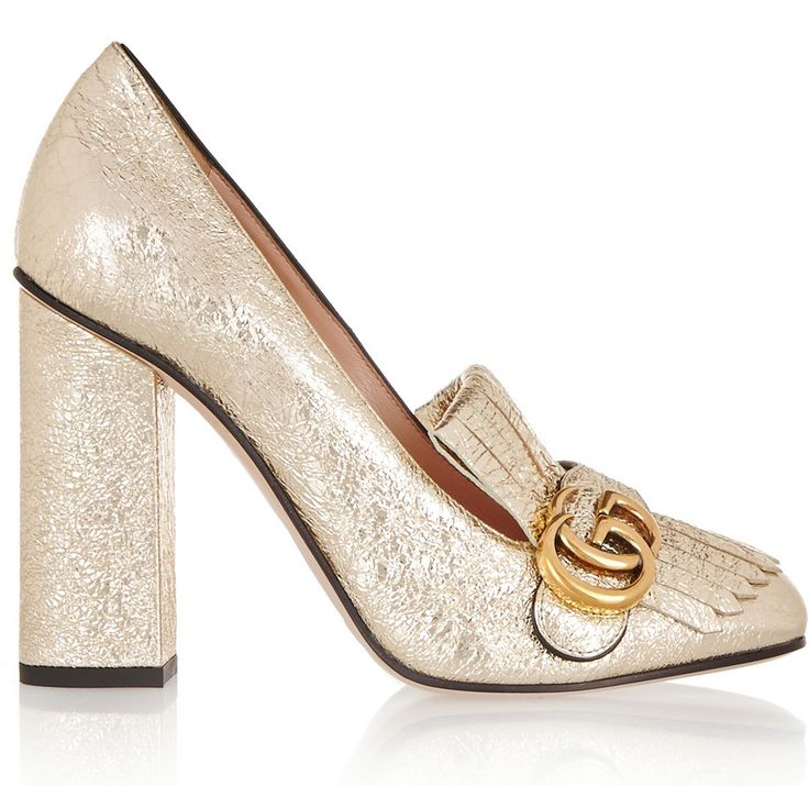 Gucci gold cracked-leather fringed pumps