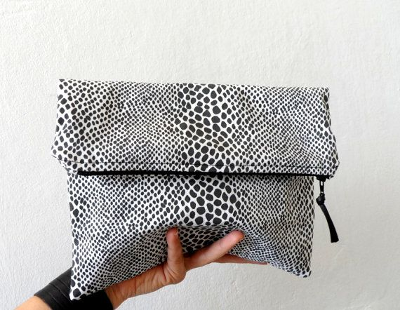 Fold Over Clutch  bag zipper pouch Black White by ShebboDesign, $36.00
