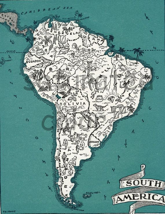 South America Map Art - High Res DIGITAL IMAGE of a 1930s Vintage Picture Map - Turquoise - Argentina - Chile - Brazil - Peru - Bolivia