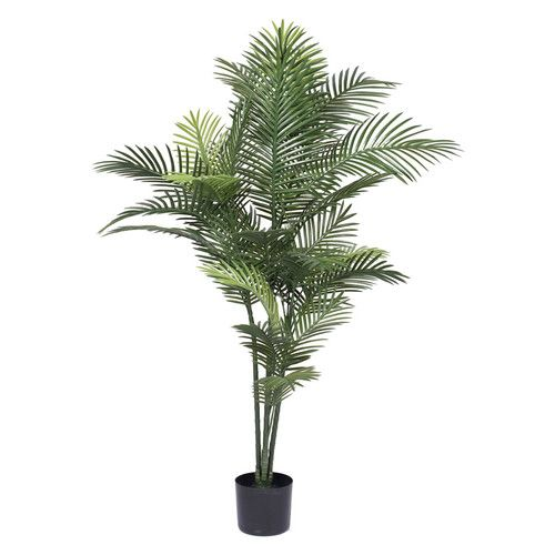 Features:  -Maintenance free.  -Real, natural wood trunks.  -Varying size foliage for a natural look.  Product Type: -Tree.  Plant Type: -Palm.  Orientation: -Floor.  Plant Material: -Plastic.  Base I
