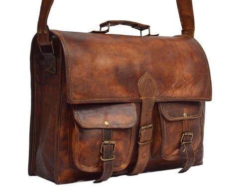 """Vintage Leather Laptop Bag, Messenger Bag or Briefcase for Men & Women. 11"""" x 15"""" x 4"""""""