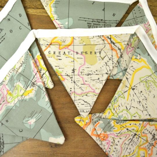 25 unique map fabric ideas on pinterest travel theme nursery world map fabric flag buntings sciox Choice Image