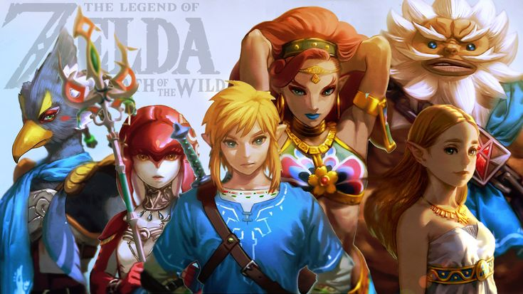 Made a wallpaper with the artwork of the champions (and Zelda) posted the other day. Visit blazezelda.tumblr.com