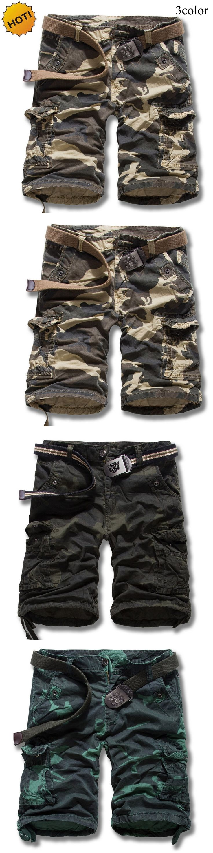 TOP Quality Summer Loose Military Cotton Straight Camouflage Cargo Shorts Men Khaki Mens Combat Overalls Short Trousers Cuff