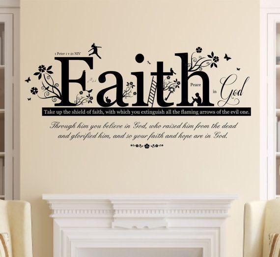 1 Peter 1 V 21 Christian Bible Quote, Vinyl Wall Art Sticker Decal Mural,  120cm Wide X 56cm High. Home, Church, School Decor
